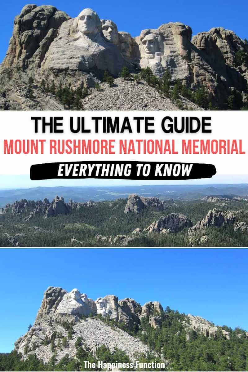 top photo: visiting Mount Rushmore national memorial, middle photo: view of South Dakota Black Hills, bottom photo: view of Mt Rushmore sculpture