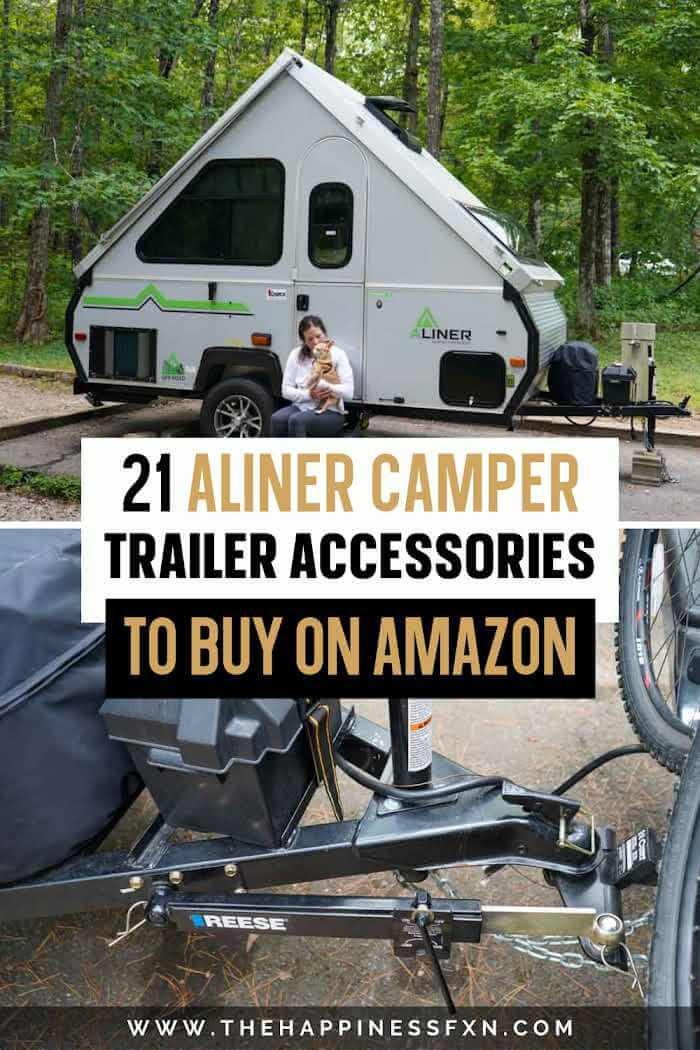 top photo: girl sitting with dog on steps of Aliner camper, bottom photo: Aliner camper accessories to tow safely