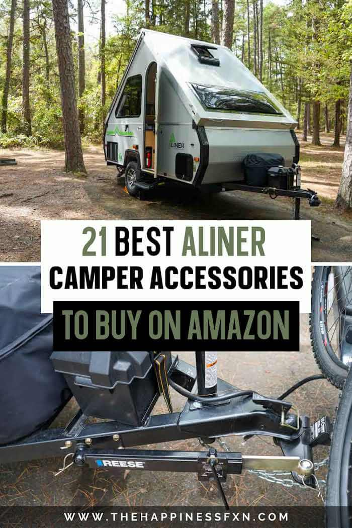 top photo: aliner camping in a campground, bottom photo: aliner accessories needed for towing